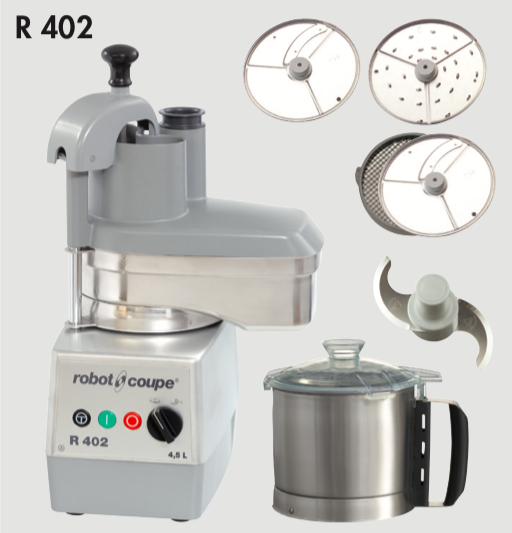 Robot Coupe R402 Combined Veg Prep Machine and Bowl Cutter & Accessories