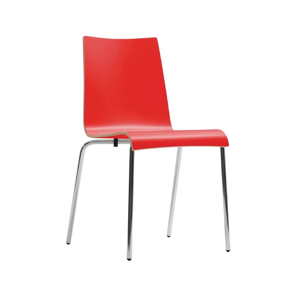CP755 - Bolero Plyform Stacking Side Chairs Red - Case of 4 - CP755