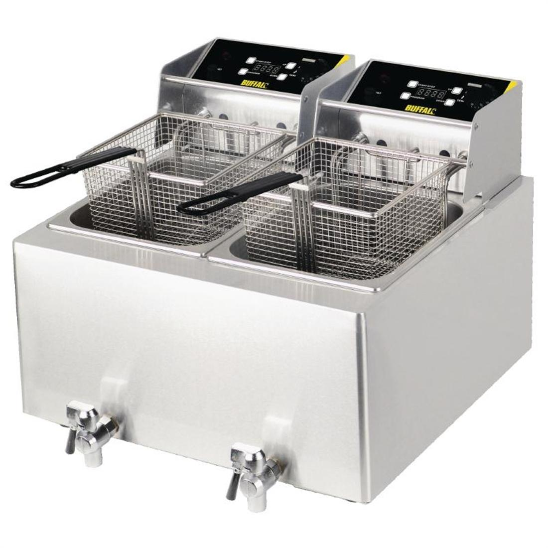 GH125 - Buffalo Twin Tank Twin Basket Countertop Electric Fryer 2x3kW - GH125
