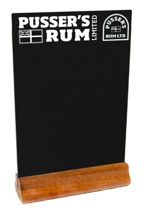 CUSTOMA4HPLCHALKRECT - A4 HPL Rectangular Chalkboard Table Top Holder - Custom Printed