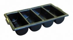 SS008/BLK - Black 4 Compartment Cutlery Tray - Each - SS008/BLK