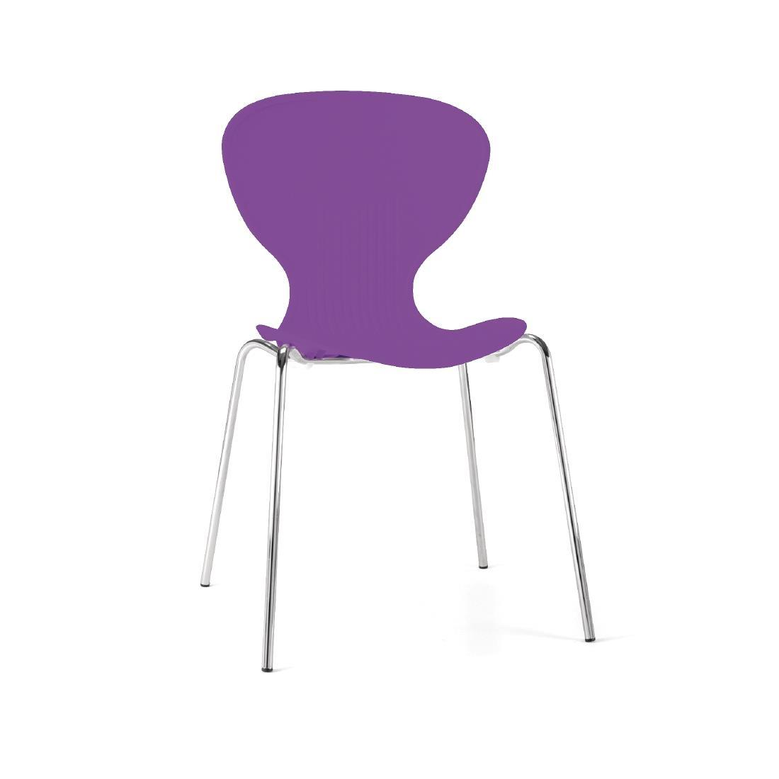 GP504 - Bolero Purple Stacking Plastic Side Chairs - Case of 4 - GP504