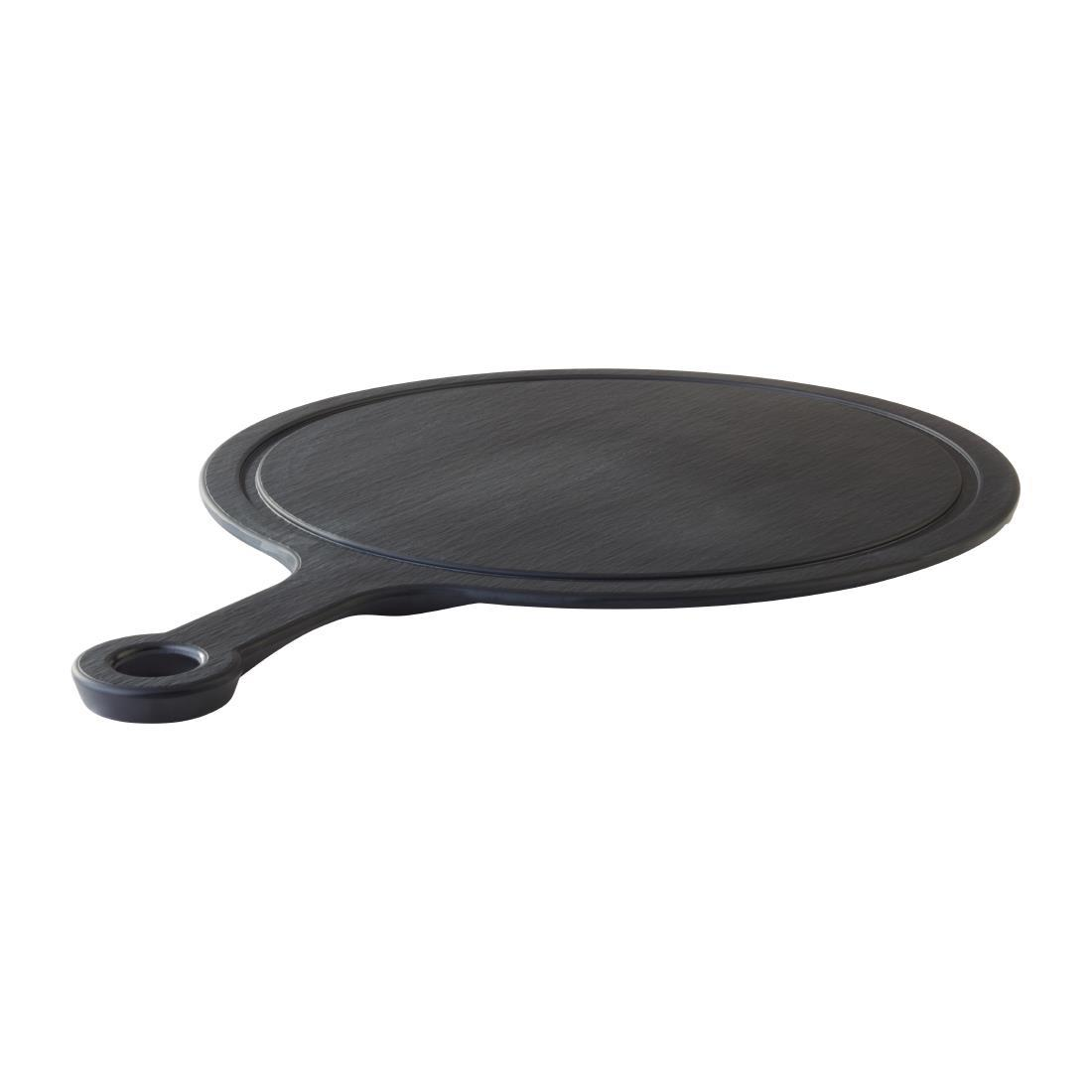 CS126 - APS Slate Melamine Handled Platter 370 mm - Each - CS126
