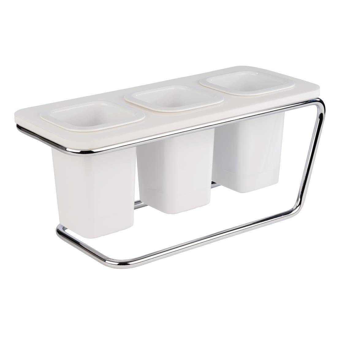 CW190 - APS Triple Cutlery Holder White - Each - CW190