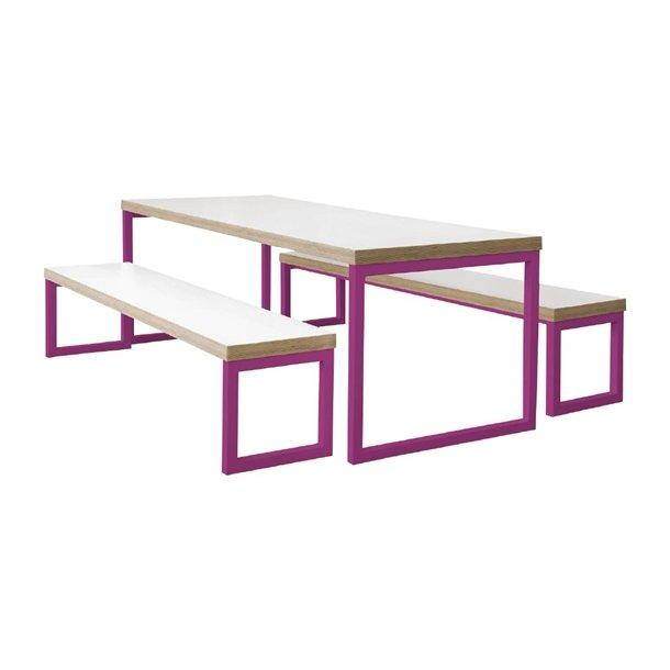 DM660 - Bolero Dining Bench White with Pink Frame 5ft - Case of 1 - DM660