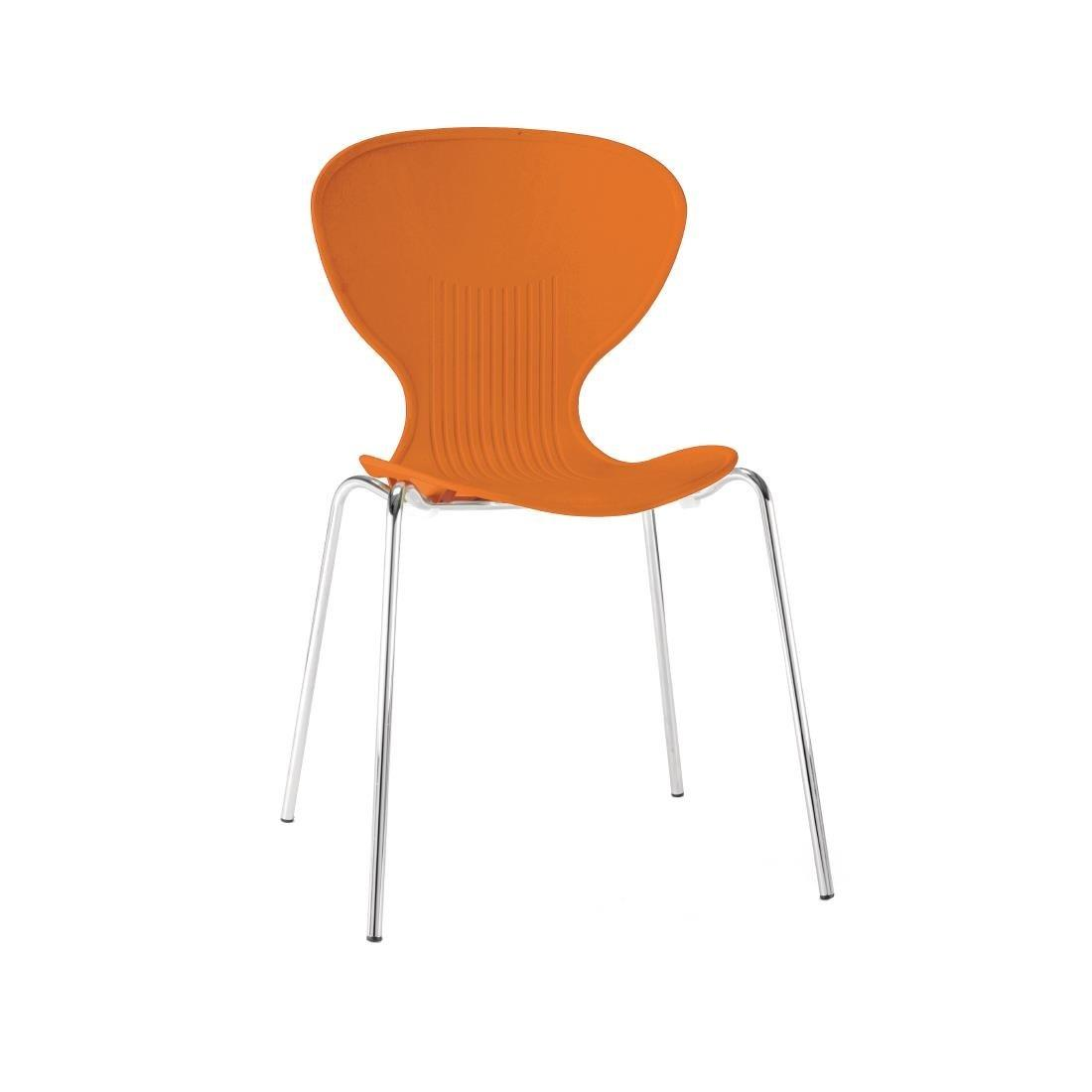 GP505 - Bolero Orange Stacking Plastic Side Chairs - Case of 4 - GP505