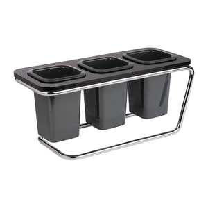CW191 - APS Triple Cutlery Holder Black - Each - CW191
