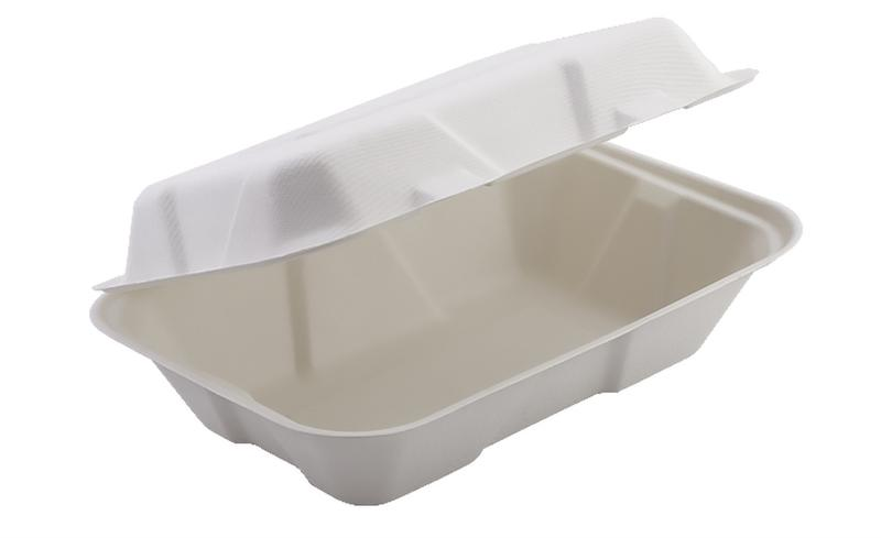 "HBB96 - Enviroware Compostable Bagasse Hinged Food Containers 229mm x 155mm 9 x 6"" - Pack of 200 - HBB96"