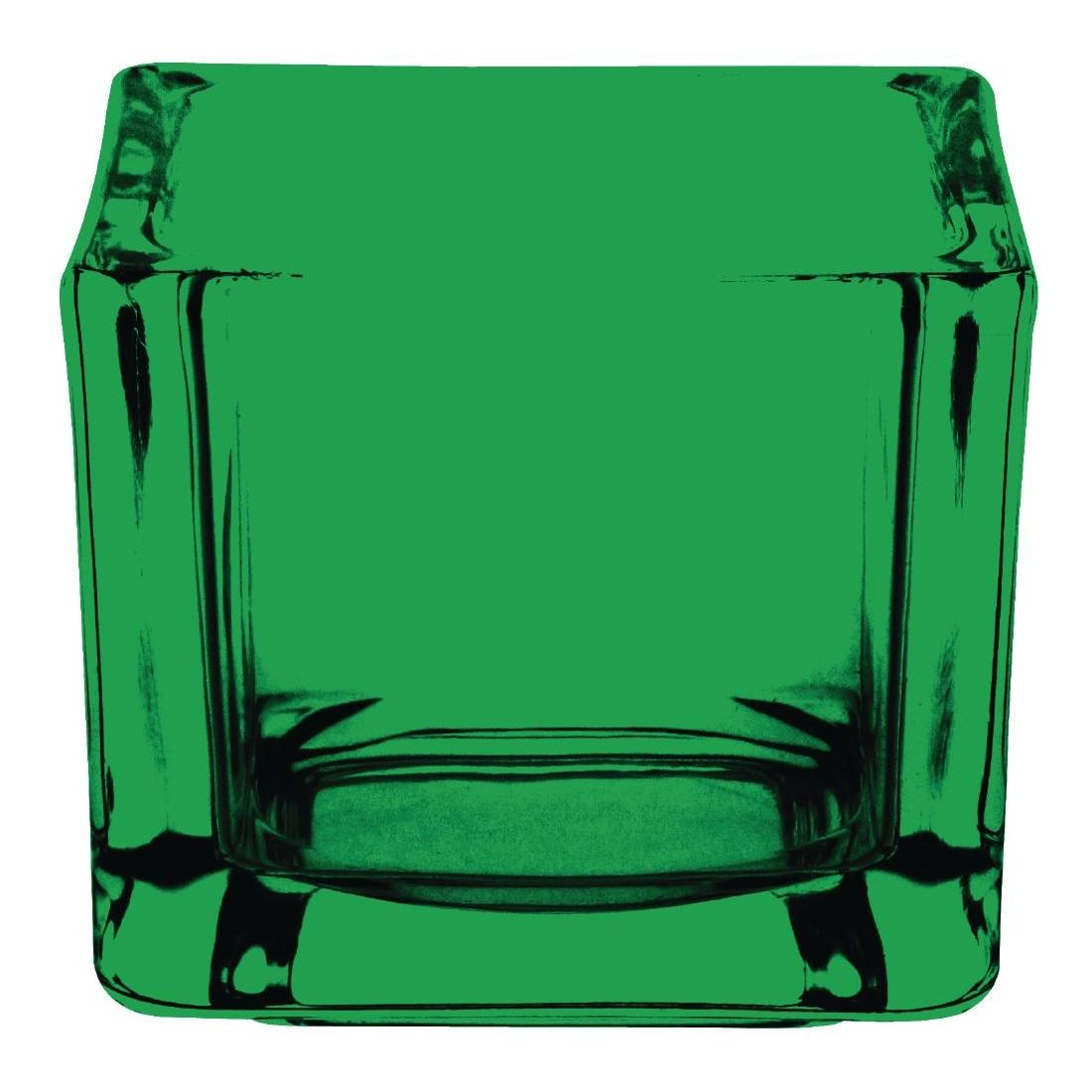 GM225 - Olympia Glass Tealight Holder Square Green - Case 6 - GM225