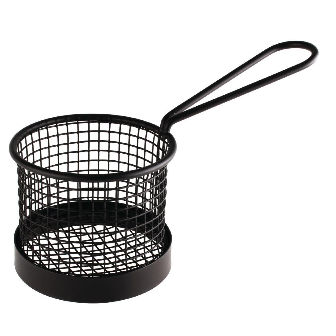 CS317 - Olympia Round Chip Presentation Basket With Handle Black - CS317