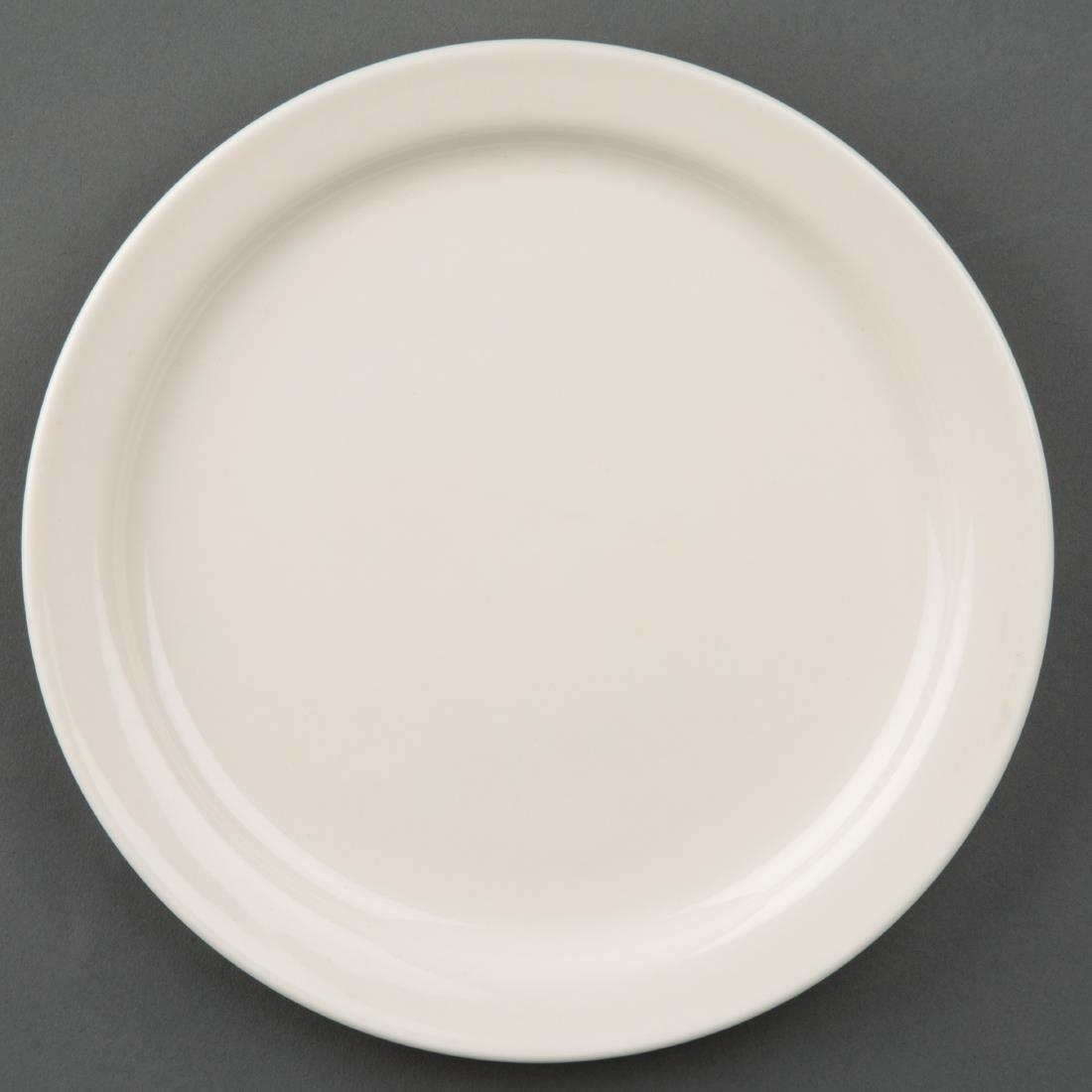 U841 - Olympia Ivory Narrow Rimmed Plates 175mm - Case 12 - U841