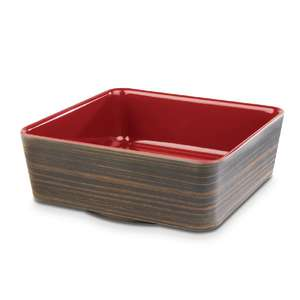CW693 - APS+ Melamine Square Bowl Oak and Red 1.5 Ltr - Each - CW693