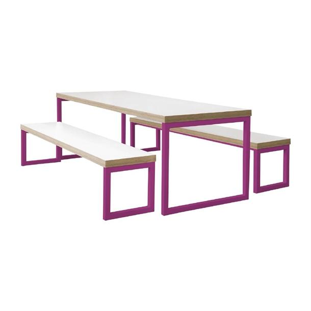 DM656 - Bolero Dining Table White with Pink Frame 4ft - Case of 1 - DM656