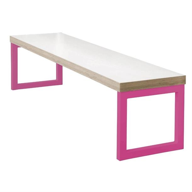 DM659 - Bolero Dining Bench White with Pink Frame 3ft - Case of 1 - DM659
