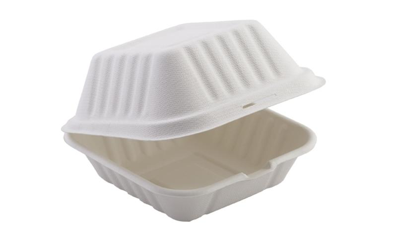 "HBB55 - Enviroware Compostable Bagasse Hinged Food Containers 152mm x 152mm 5 x 5"" - Pack of 400 - HBB55"
