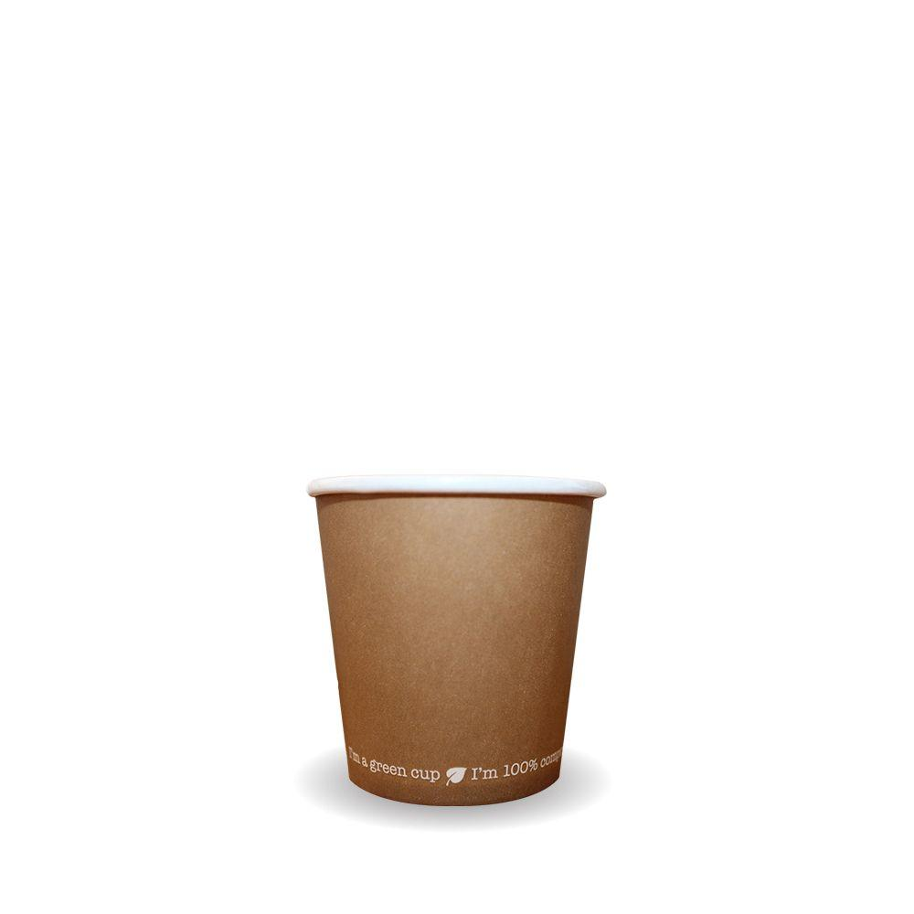 11789001 - Biopak 8oz Kraft Single Wall BioCup Compostable - Case 1000 - 11789001