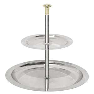 U801 - Stainless Steel 2 Tier Afternoon Tea Stand 200mm - Each - U801