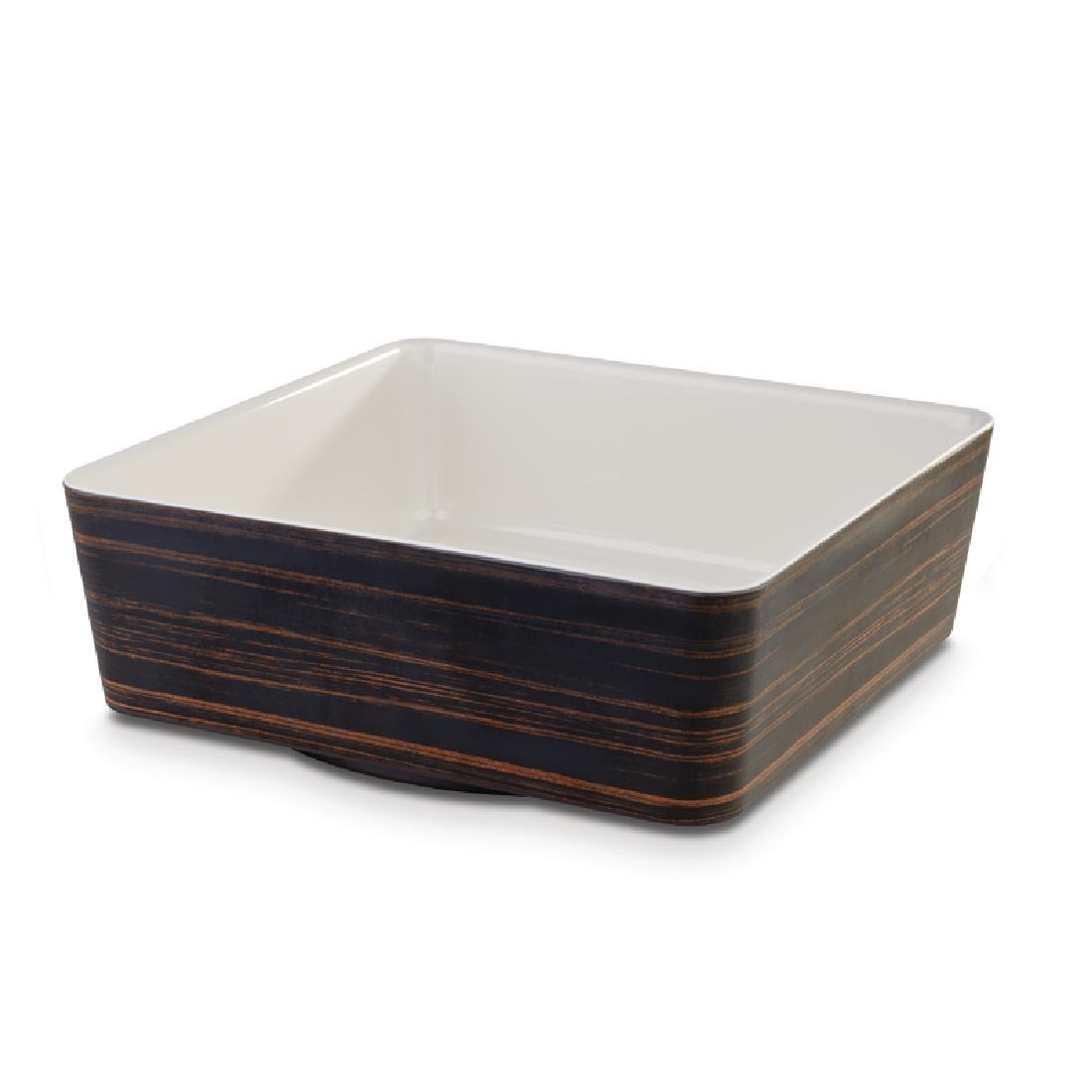 CW692 - APS+ Melamine Square Bowl Oak and Cream 4 Ltr - Each - CW692
