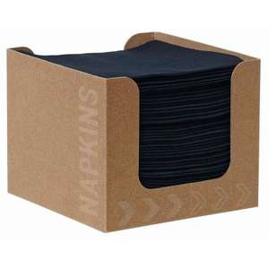 CY528 - Dunisoft Premium Compostable Cocktail Napkins Black 200mm With 12 Dispensers Recyclable