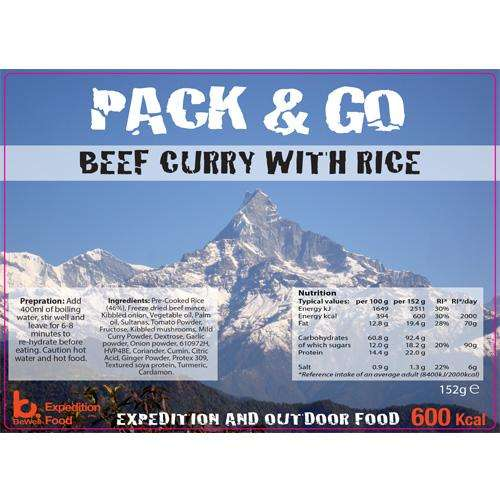 Sliver foil pouch contining  Beef curry & Rice