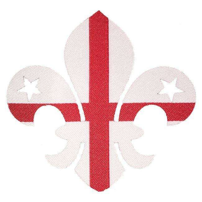 england fleur de lis iron on badge scout
