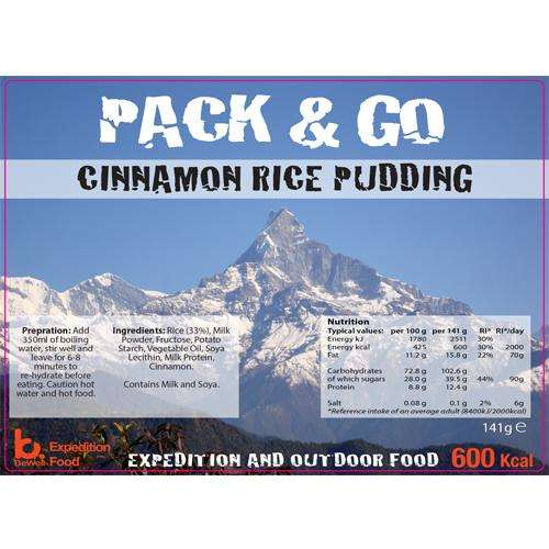 Sliver foil pouch contining Cinnamon Rice Pudding
