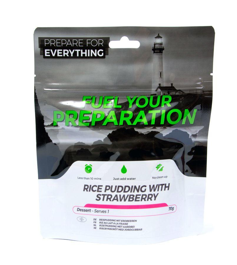 Fuel Your Preparation rice pudding & strawberry camping outdoor meal
