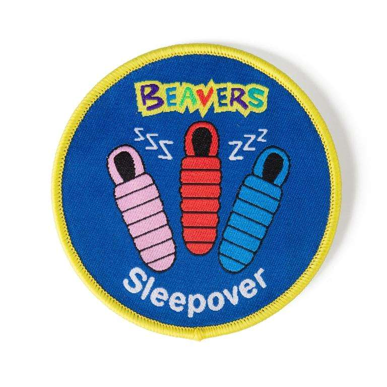 round beaver sleepover badge scouts