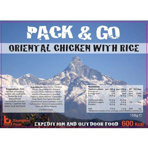 Sliver foil pouch contining Oriental Chicken & Rice