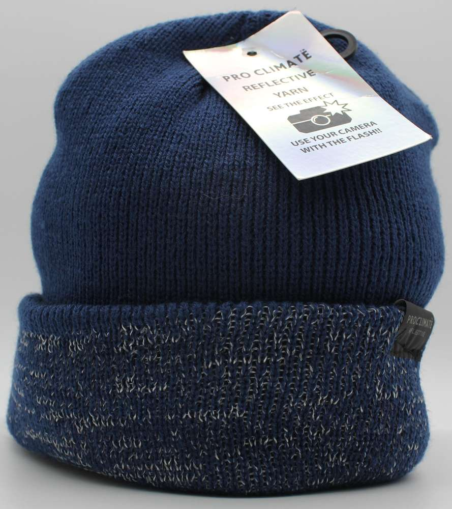 blue beanie with hi viz reflective thread yarn