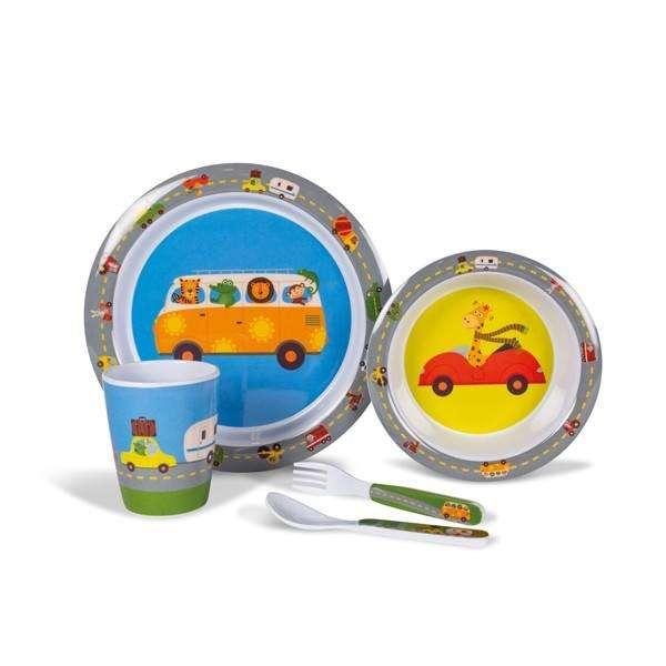 Kampa Animal traffic melamine childrens tabeware set