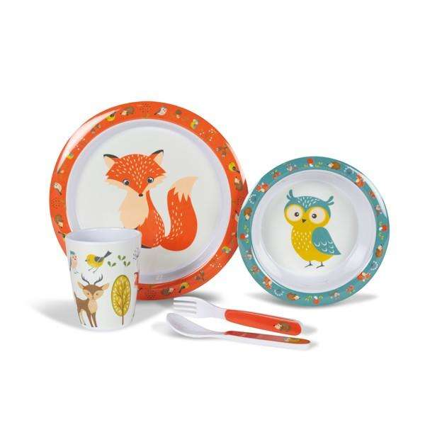 Kampa Woodland Creatures melamine childrens tableware set