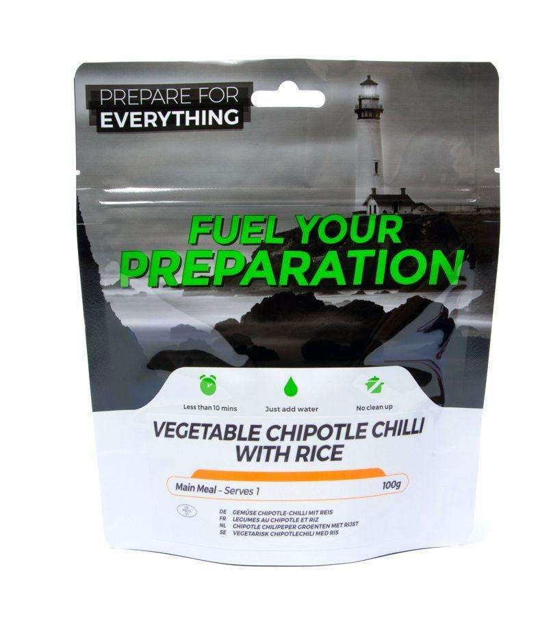 Fuel Your Preparation veg chipotle chilli & rice camping outdoor meal
