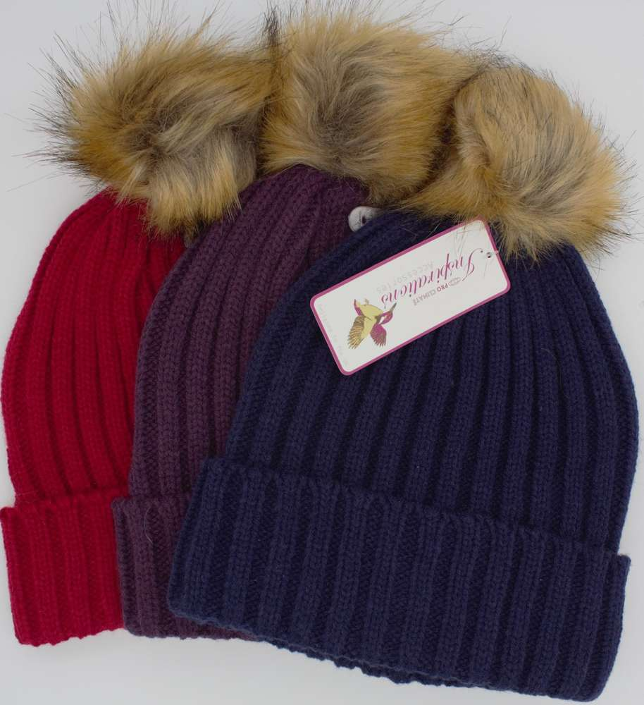 pro climate bobble beanie hat pink blue purple