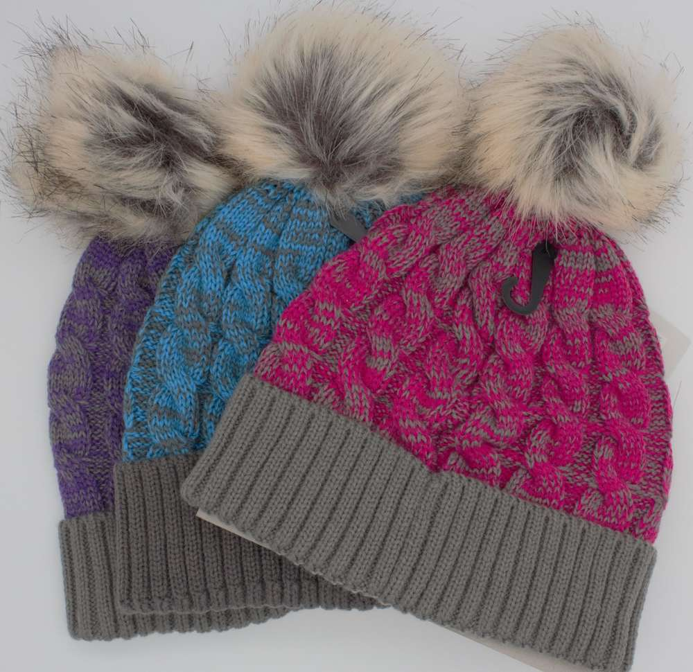 ladies beanie purple pink blue pom  pom twisted cord`