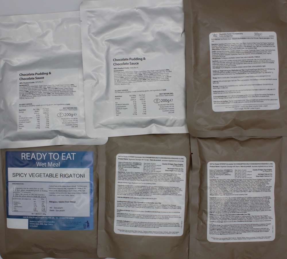 Pack of 6 Vegetarian Ready to Eat Camping Meals MRE
