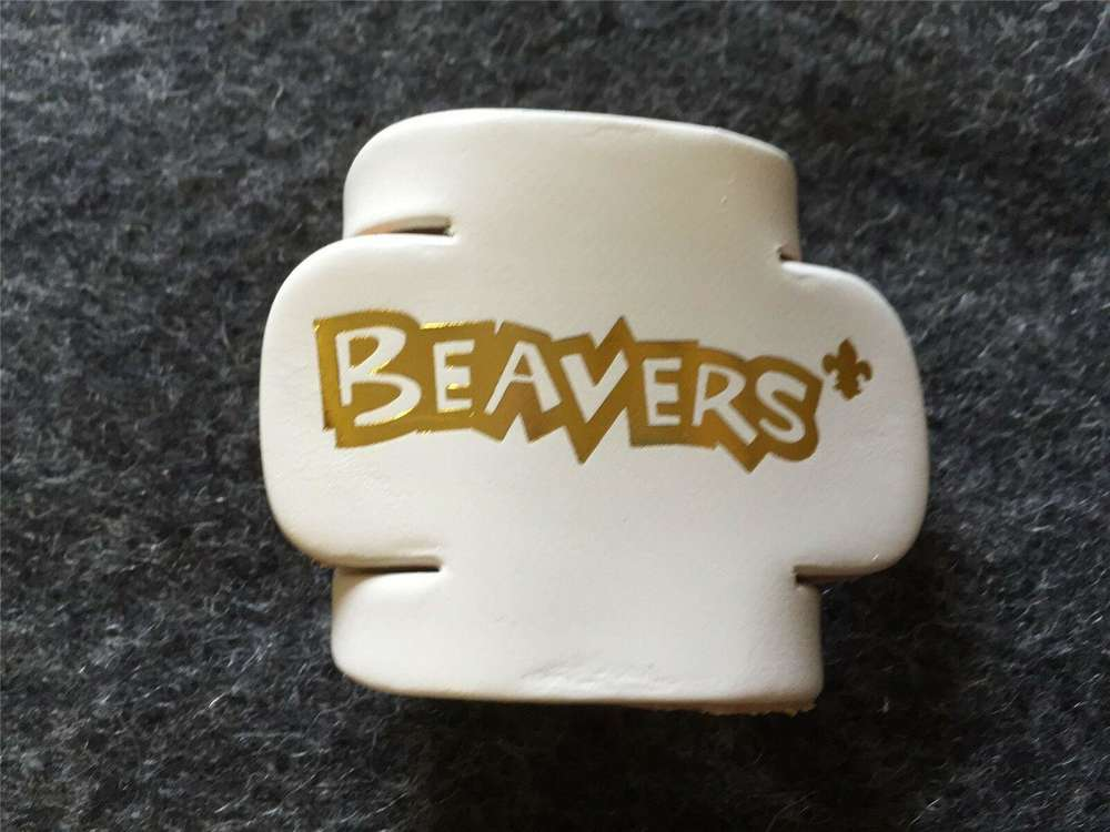 White Leather Beaver Woggle Scouts