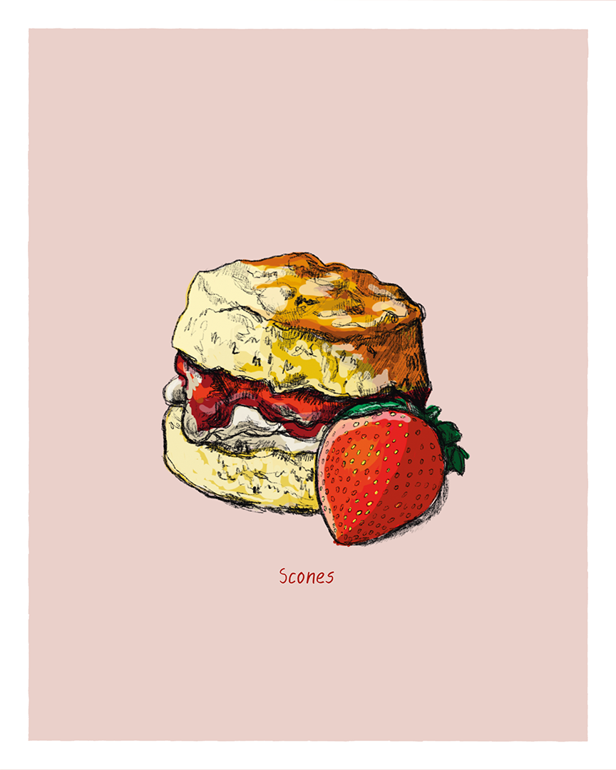 Scones print from the Great Bakes series by Tom Laird Illustration