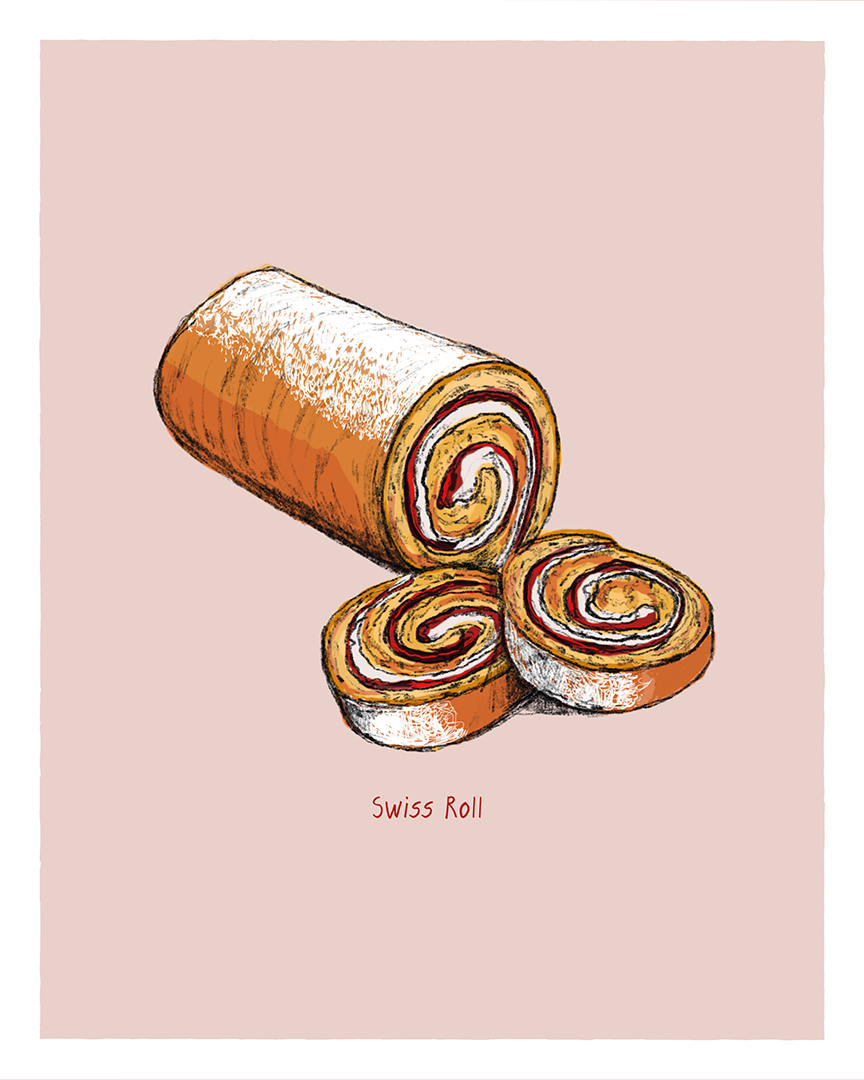 Swiss roll print from the Great Bakes series by Tom Laird Illustration