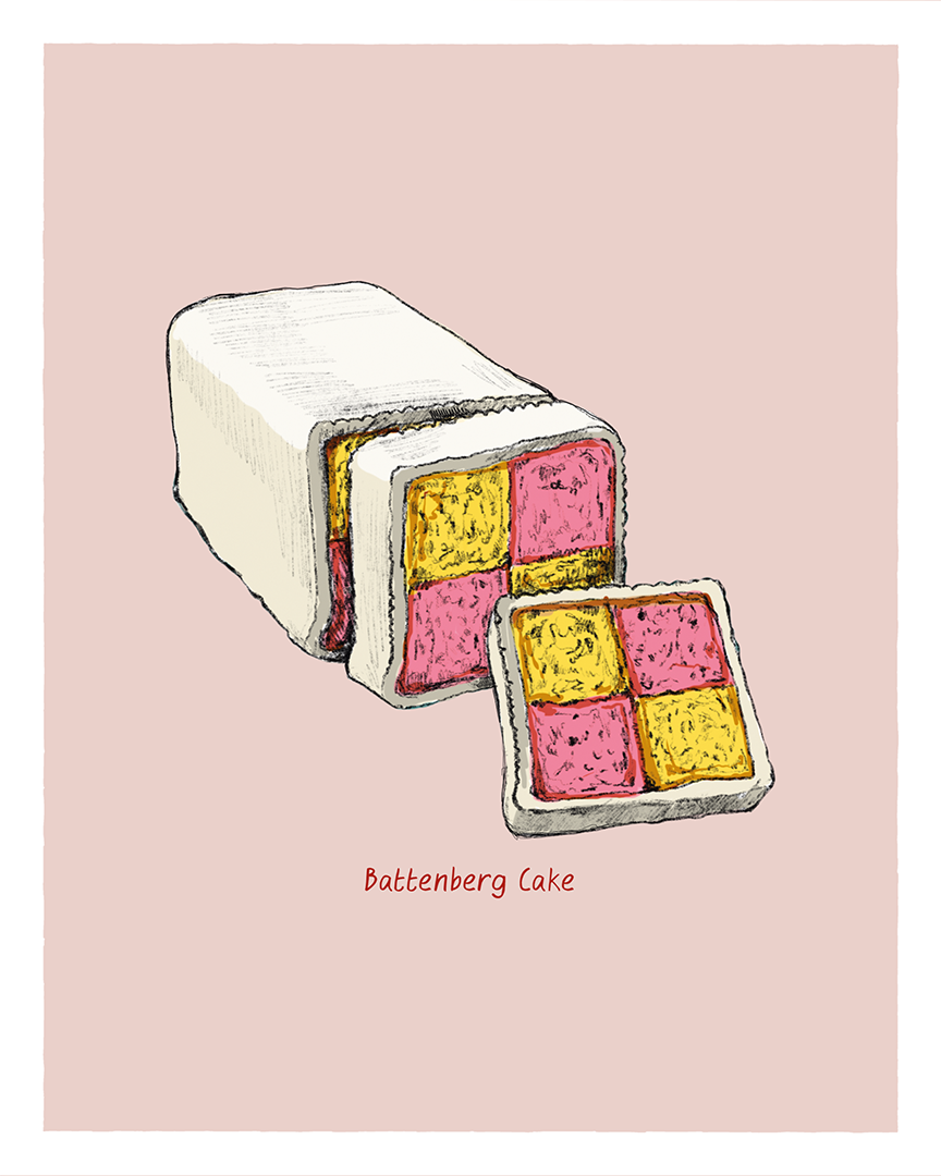 Battenberg print from the Great Bakes series by Tom Laird Illustration