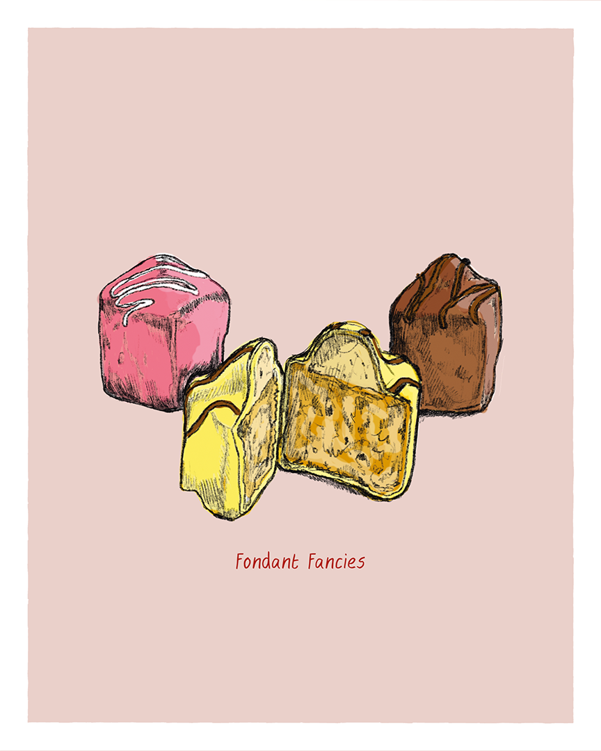 Fondant Fancies print from the Great Bakes series by Tom Laird Illustration