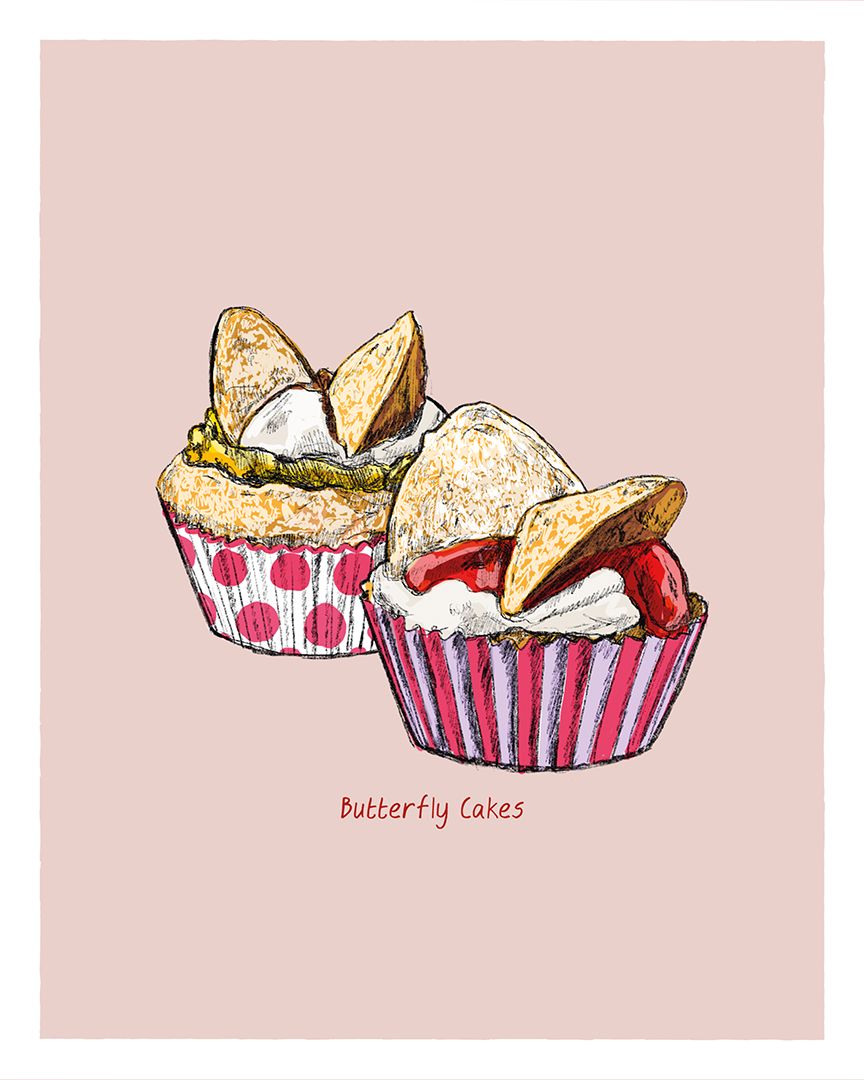 Butterfly Cakes print from the Great Bakes series by Tom Laird Illustration