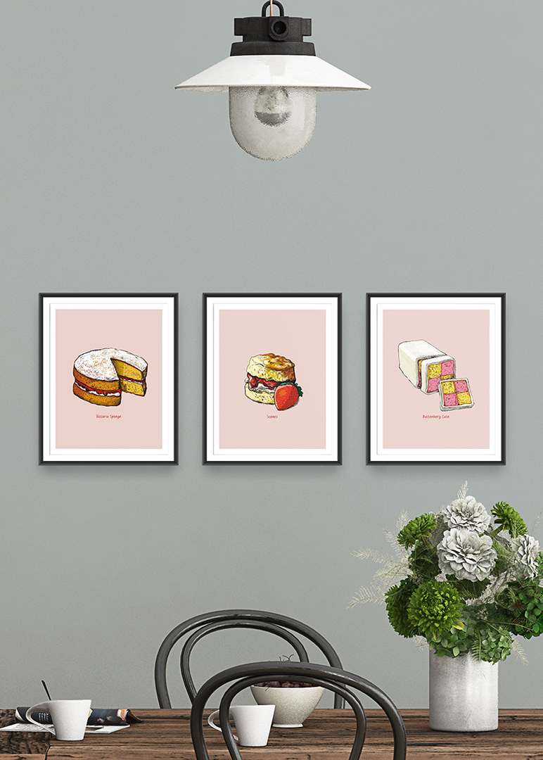 Group of three Great Bakes prints by Tom Laird Illustration