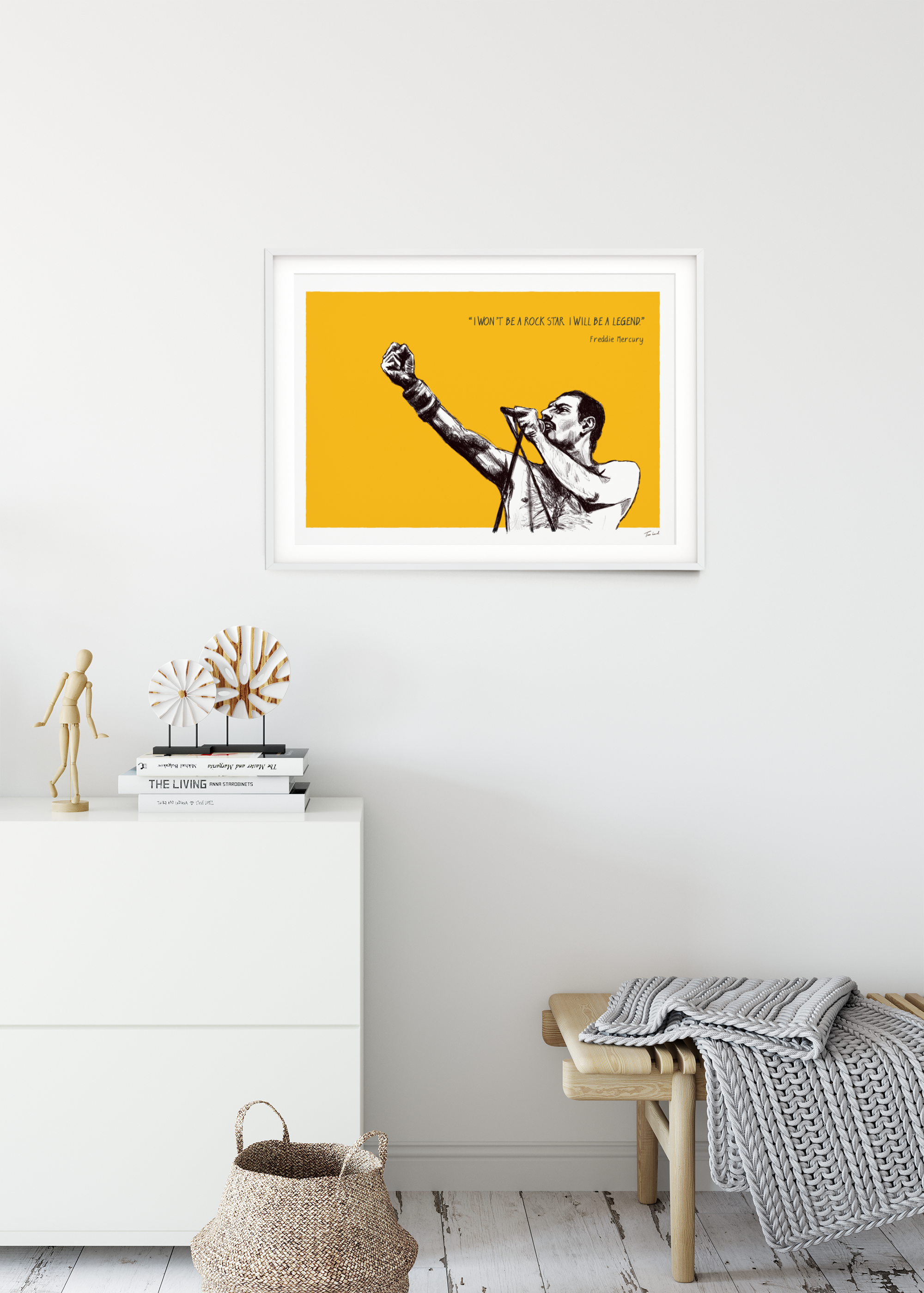 Freddie Mercury print framed in a room