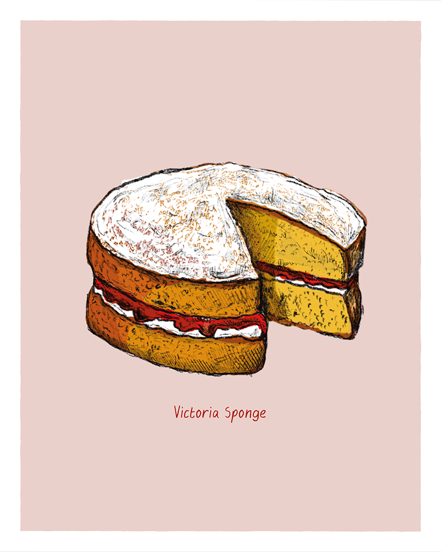 Victoria sponge print from the Great Bakes series by Tom Laird Illustration