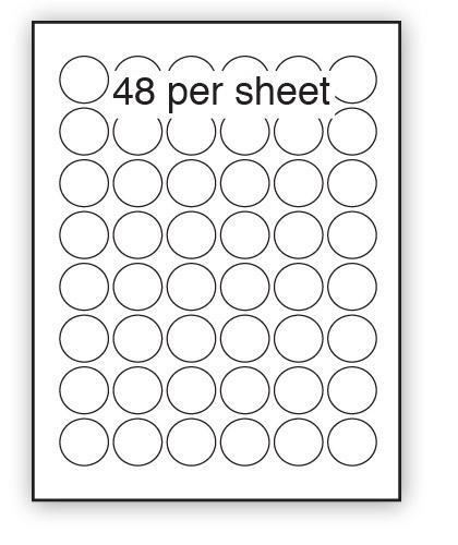 GC30 - A4 Label Gloss Clear Polyester 30mm Diameter Circle 48 up (100 Sheets)