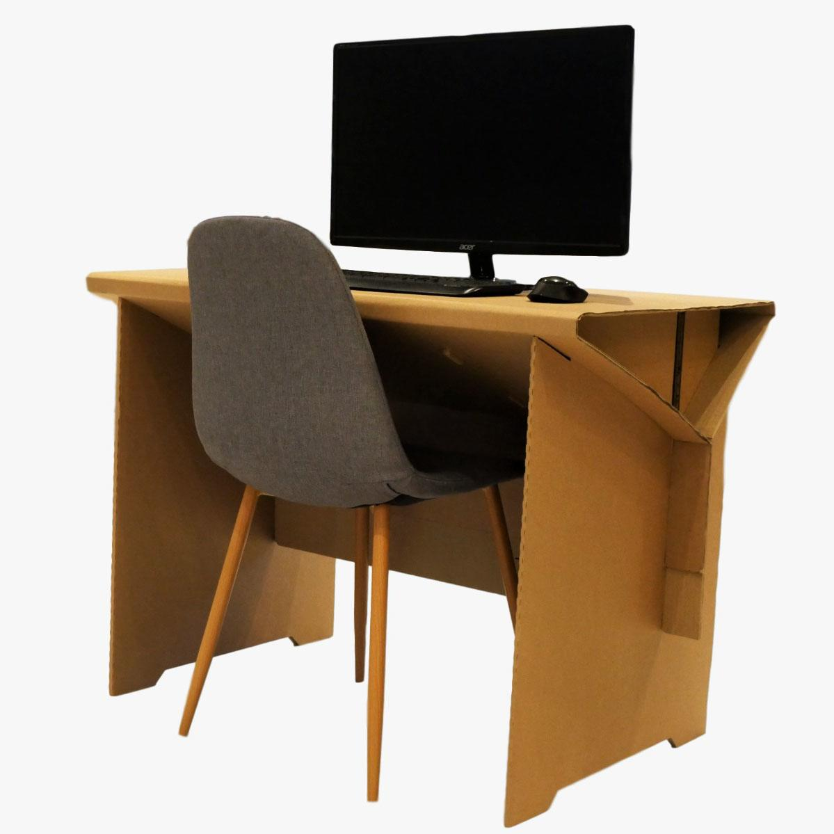 Cardboard Desk with Integral Cable Tidy