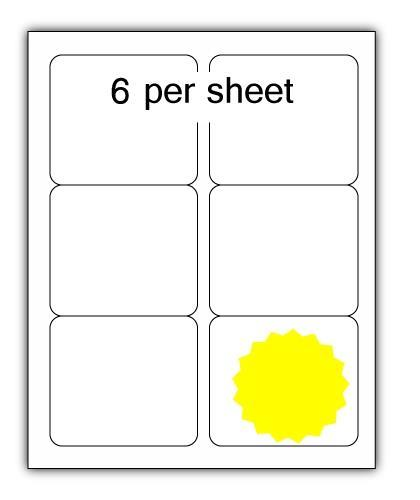 ULL6FLL - A4 Label Fluorescent Lemon 99x93mm 6 up (100 Sheets)