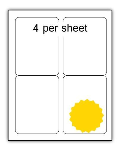 ULL4Y - A4 Label Yellow 99x139mm 4 up (100 Sheets)