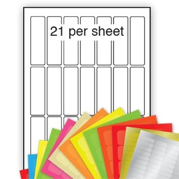A4 Coloured Labels 25x76mm 21 per sheet